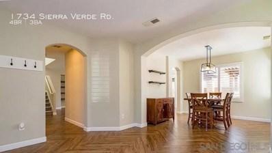 1734 Sierra Verde Road, Chula Vista, CA 91913 - MLS#: 210001112