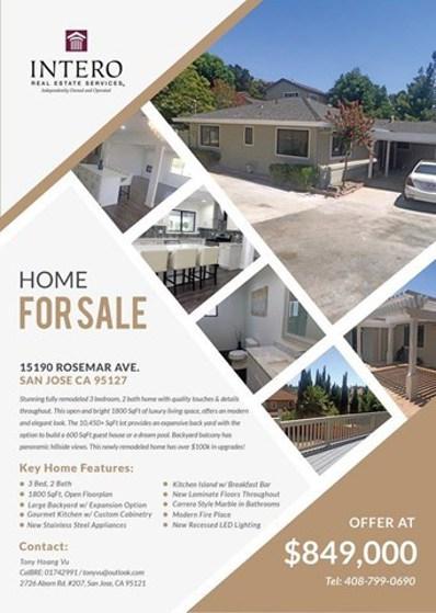 15190 Rosemar Avenue, San Jose, CA 95127 - MLS#: ML81674665