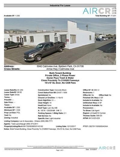 5042 Calmview Ave, Baldwin Park, CA 91706 - MLS#: WS17276524