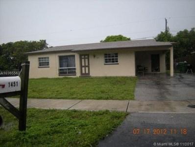 1451 NW 31st Way, Lauderhill, FL 33311 - MLS#: A10365562