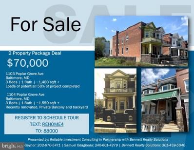 1104 Poplar Grove Street, Baltimore, MD 21216 - #: MDBA481940