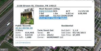 1108 Brown Street, Chester, PA 19013 - MLS#: PADE535928