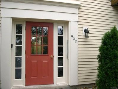 922 Chestnut Hill Drive UNIT C, Auburn Hills, MI 48326 - MLS#: 218101266