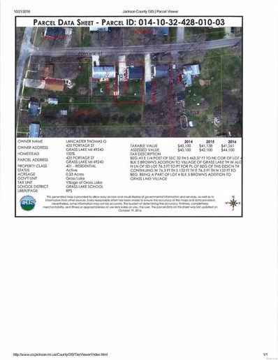 425 Portage Street, Grass Lake Vlg, MI 49240 - MLS#: 543256969