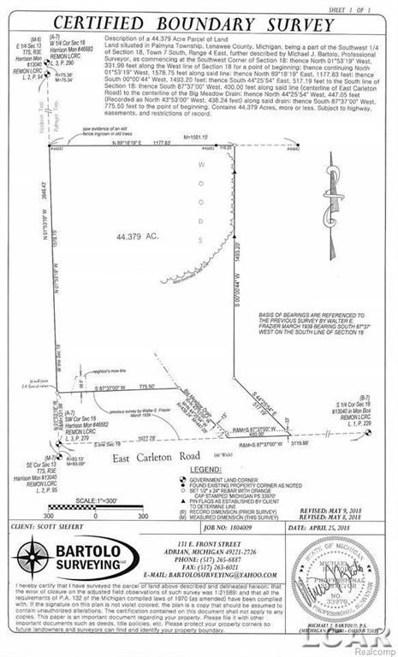 Carleton Rd, Palmyra Twp, MI 49221 - MLS#: 56031349751